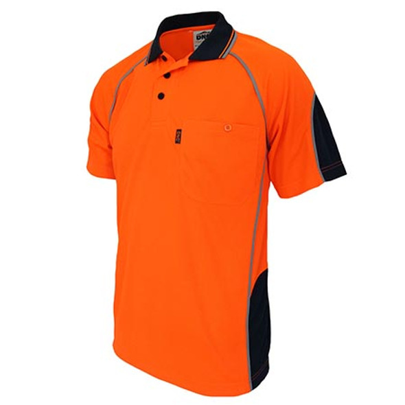 Orange-Navy - 3569 Hi-Vis Semicircle-Piping Polo - DNC Workwear