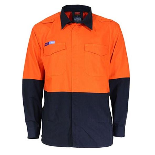Orange-Navy - 3441 Inherent FR PP31 2T L/W Shirt - DNC Workwear