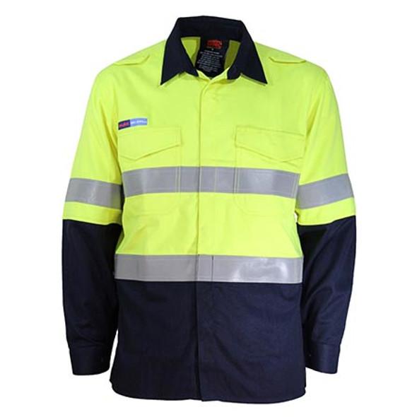 Yellow-Navy - 3445 Inherent FR PPE1 2T L/W DN Shirt - DNC Workwear