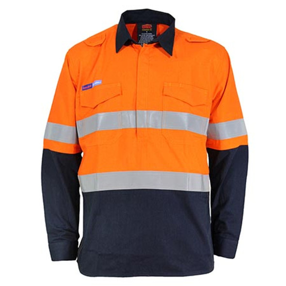 Orange-Navy - 3447 Inherent FR PPE1 2T C/F DN L/W Shirt - DNC Workwear