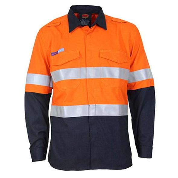 Orange-Navy - 3455 Inherent FR PPE2 2T D/N Shirt - DNC Workwear