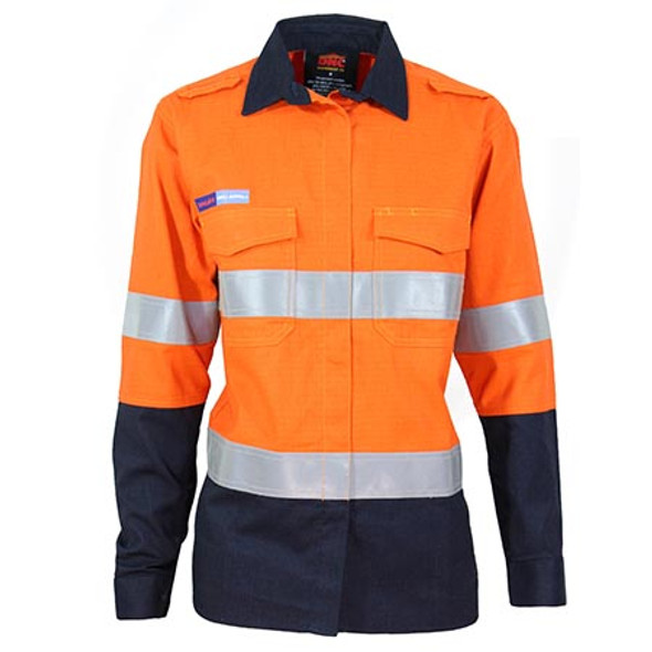 Orange-Navy - 3457 Ladies Inherent FR PPE2 2-Tone D/N Shirt - DNC Workwear