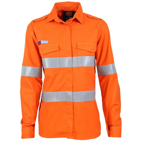 Orange - 3459 Ladies Inherent FR PPE2 D/N Shirt - DNC Workwear