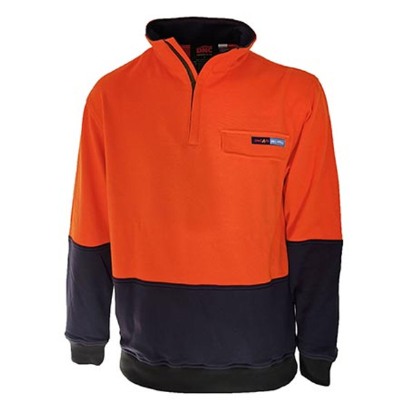 Orange-Navy - 3423 Hi-Vis 1/2 Zip FR and HRC2 Jumper - DNC Workwear
