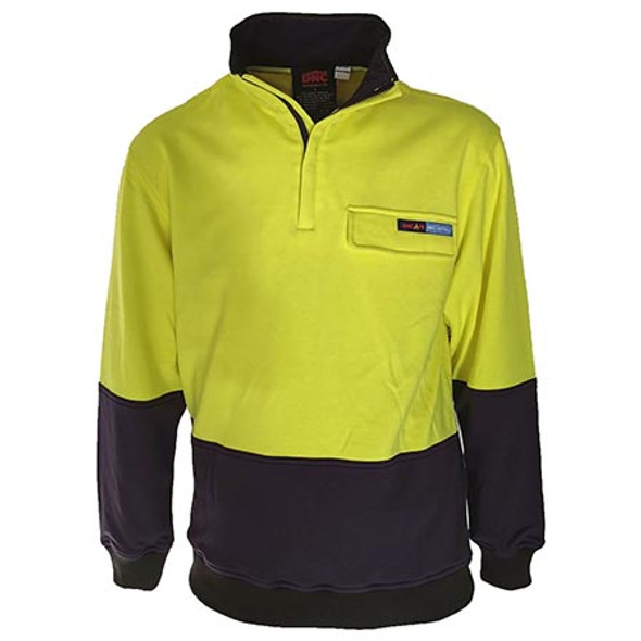 Yellow-Navy - 3423 Hi-Vis 1/2 Zip FR and HRC2 Jumper - DNC Workwear