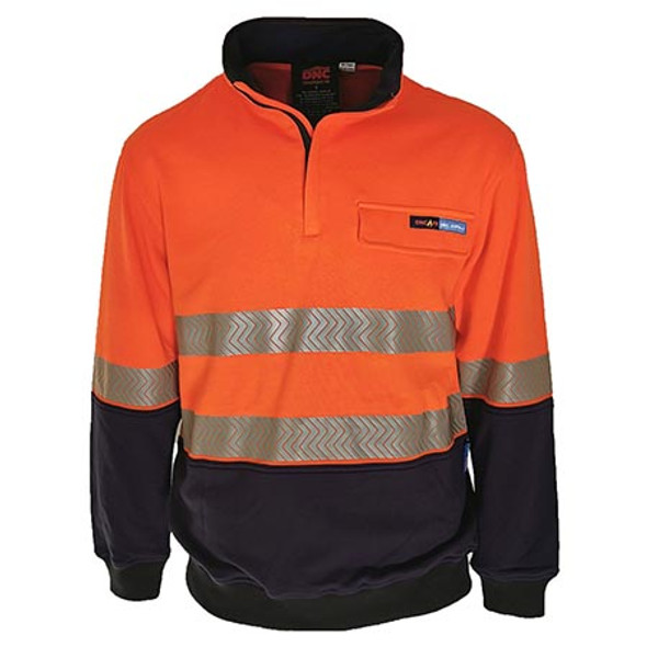 Orange/Navy - 3424 Hi-Vis 1/2 Zip FR HRC2 D/N Jumper - DNC Workwear