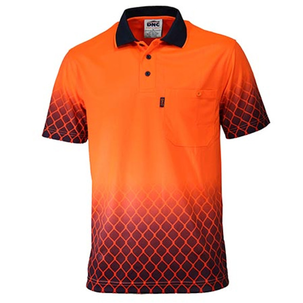 Orange-Navy - 3551 HiVis Sublimated Metal Mesh Polo - DNC Workwear