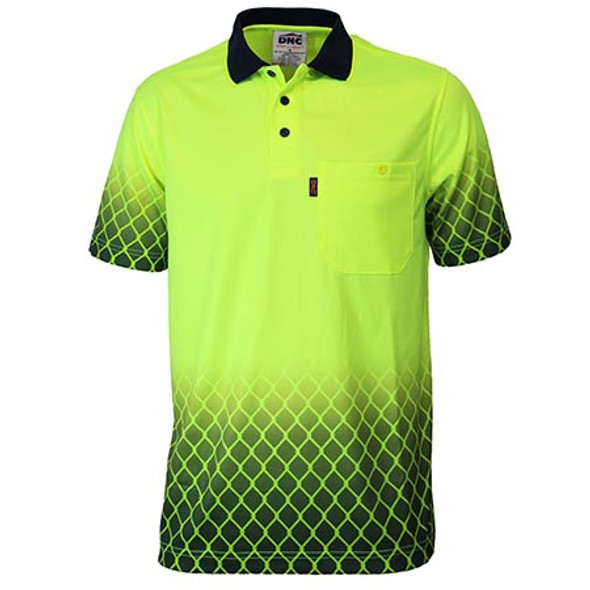 Yellow-Navy - 3551 HiVis Sublimated Metal Mesh Polo - DNC Workwear
