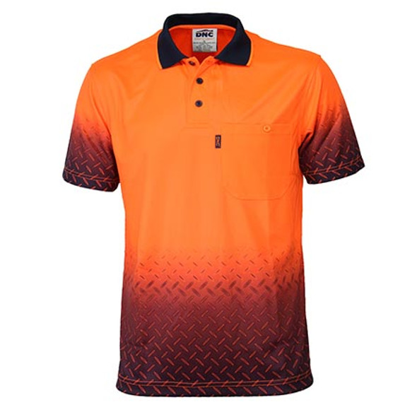 Orange-Navy - 3552 HiVis Sublimated Diamond Plate Polo - DNC Workwear