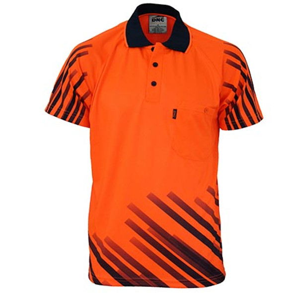 Orange - 3566 HiVis Sublimated Full Stripe Polo - DNC Workwear