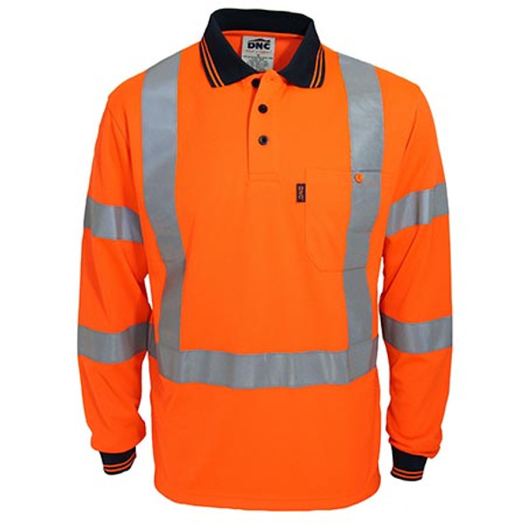 Orange - 3710 Hi-Vis X-Back and Bio-motion Taped Polo - DNC Workwear