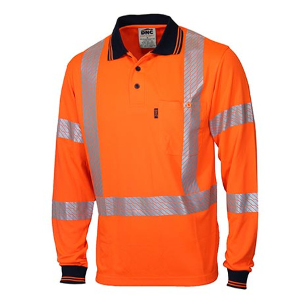 Orange - 3510 HiVis Segmented Tape X Back L/S Polo - DNC Workwear