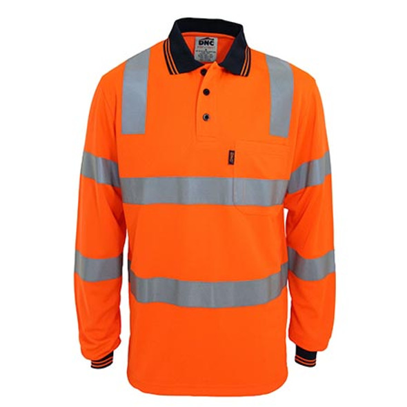 Orange - 3713 HiVis Biomotion Taped L/S Polo - DNC Workwear