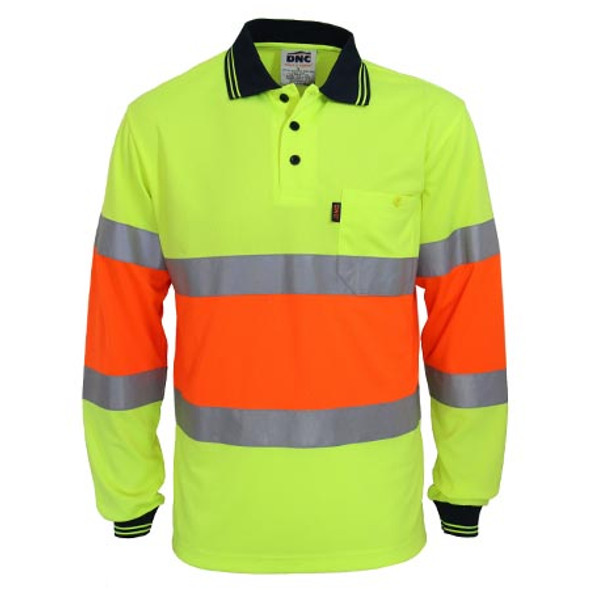 Yellow-Orange - 3709 Hi-Vis Cool-dry 2T Bio-motion D/N Polo - DNC Workwear