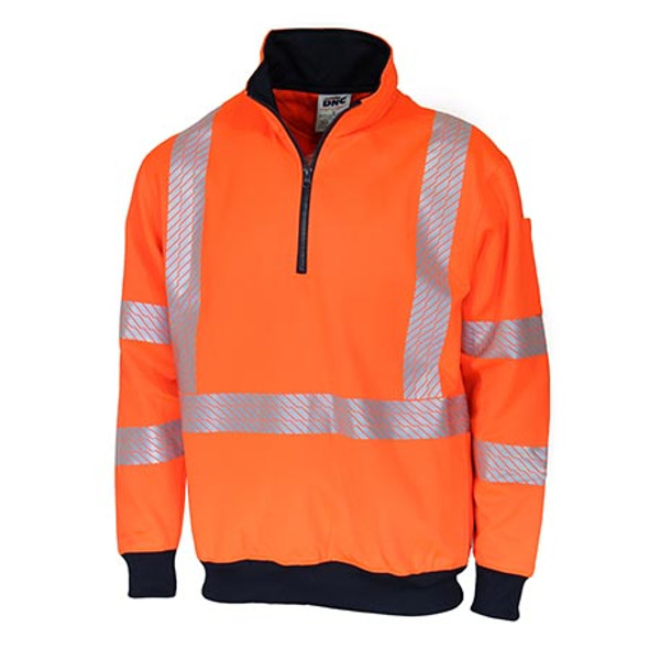 Orange - 3533 HiVis Segmented Tape X Back 1/2 Zip Jumper - DNC Workwear