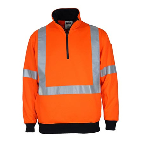 Orange - 3933 Hi-Vis 1/2 Zip X Back Fleecy Jumper - DNC Workwear