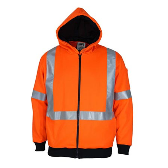 Orange - 3935 Hi-Vis Full Zip X Back Fleecy Hoodie - DNC Workwear