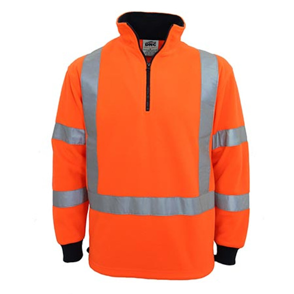 Orange - 3730 Hi-Vis X back and Biomotion taped Polar Fleece - DNC Workwear