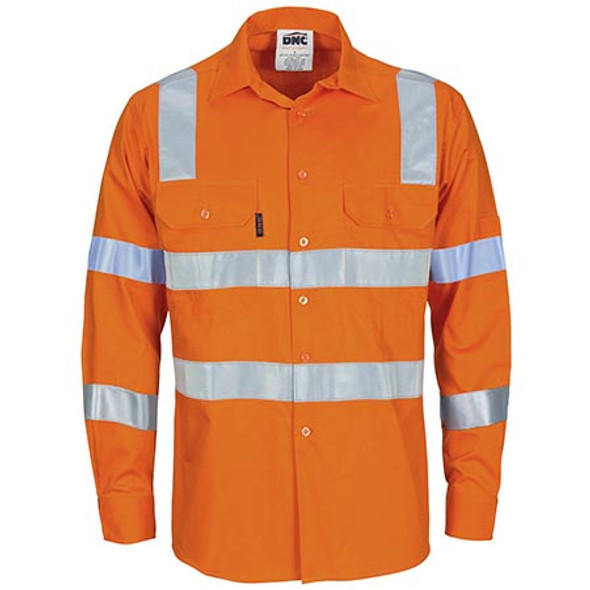Orange - 3744 HiVis L/W Bio-motion Shoulder Stripe and X Back Shirt - DNC Workwear