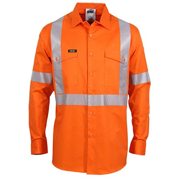 Orange - 3646 Hi-Vis Segment Taped Coolight X Back Shirt - DNC Workwear