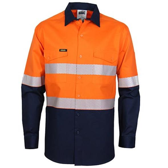 Orange-Navy - 3648 HiVis 2 Tone Segment Taped Coolight Shirt - DNC Workwear