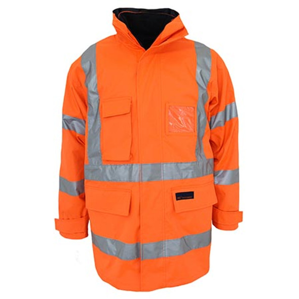 Orange - 3963 HiVis H pattern BioMotion tape 6 in 1 Jacket - DNC Workwear