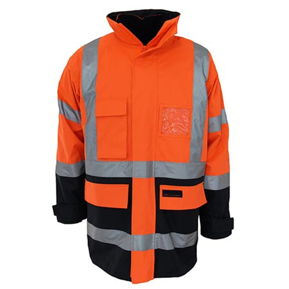 Orange-Navy - 3964 HiVis H pattern 2T Biomotion tape 6 in 1 Jacket - DNC Workwear