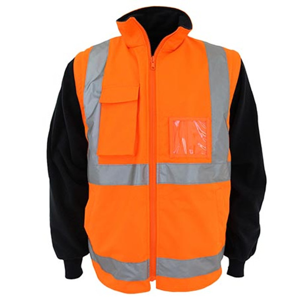 Orange-Navy - 3965 HiVis H pattern D/N R/Vest - DNC Workwear
