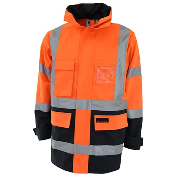 Orange-Navy - 3962 HiVis H pattern 2T Biomotion tape jacket - DNC Workwear