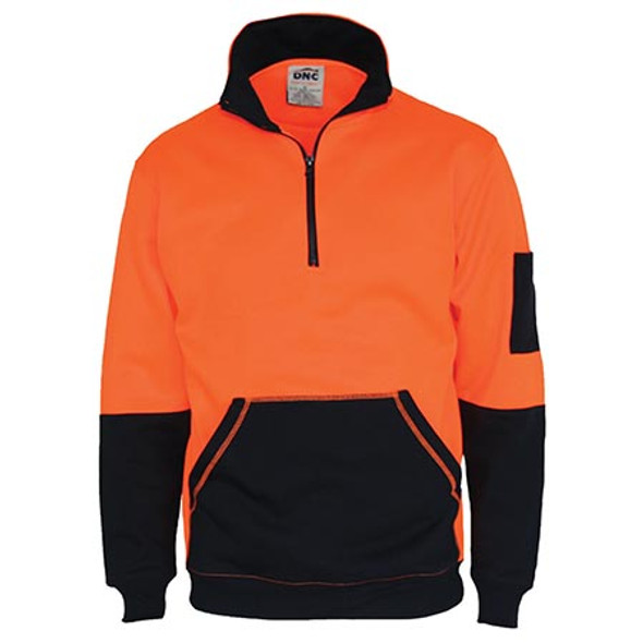 3724 - Hi Vis 1/2 Zip Super Fleecy - Orange/Navy