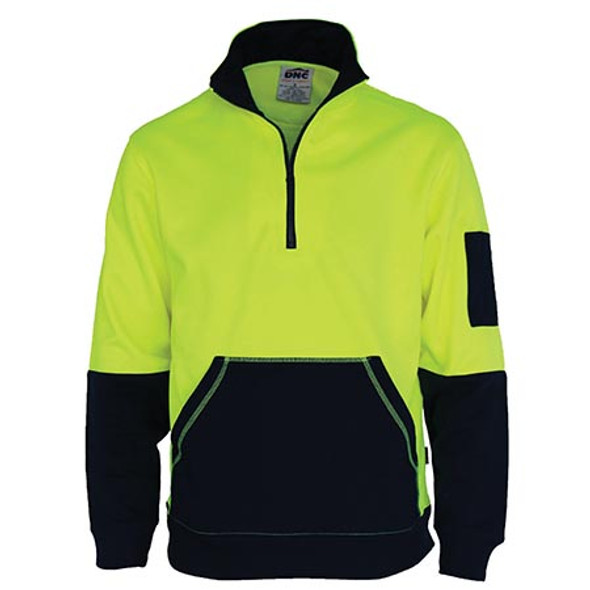 3724 - Hi Vis 1/2 Zip Super Fleecy - Yellow/Navy