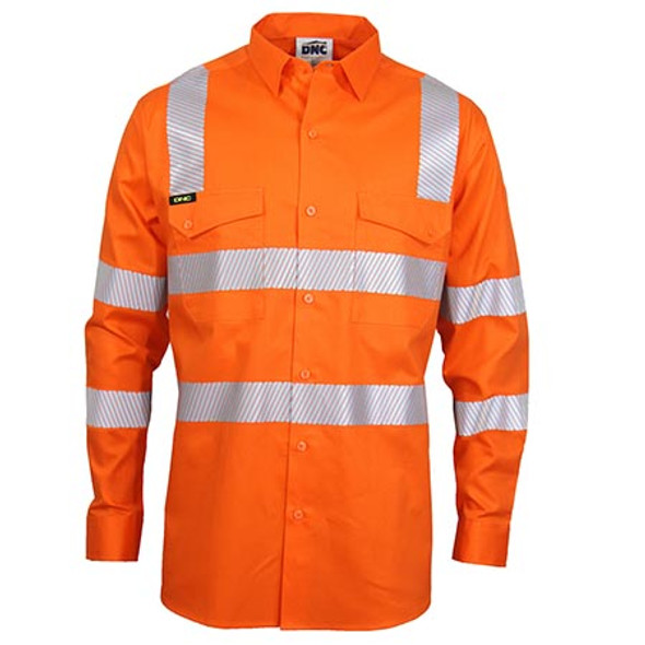 Orange - 3643 HiVis Segment Taped Coolight VIC Rail Shirt - DNC Workwear