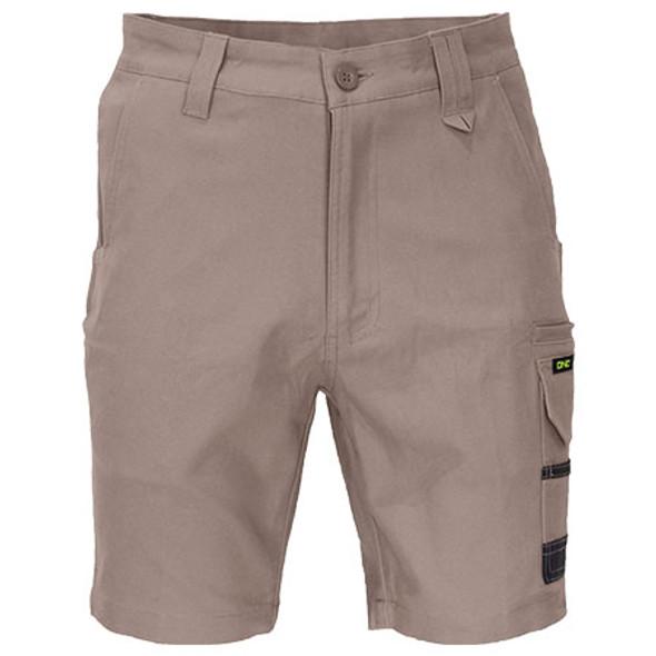 Khaki - 3373 SlimFlex Tradie Cargo Shorts - DNC Workwear