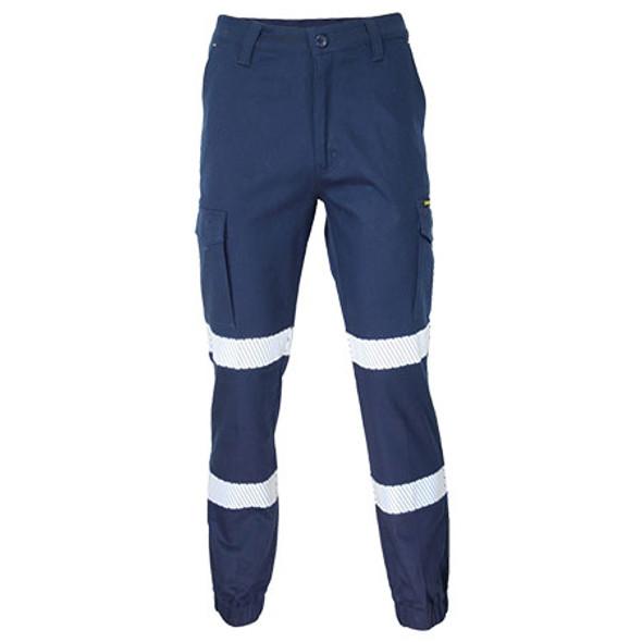 Navy - 3378 SlimFlex Bio-Motion Segment Taped Cargo Pants - Elastic Cuffs - DNC Workwear