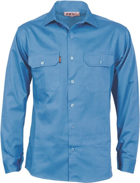 3209 - Cotton Drill Work Shirt With Gusset Sleeve - Long Sleeve