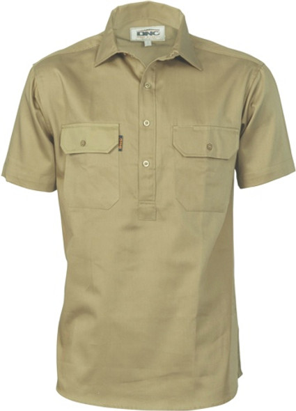 3203 - Cotton Drill Close Front Work Shirt - Short Sleeve