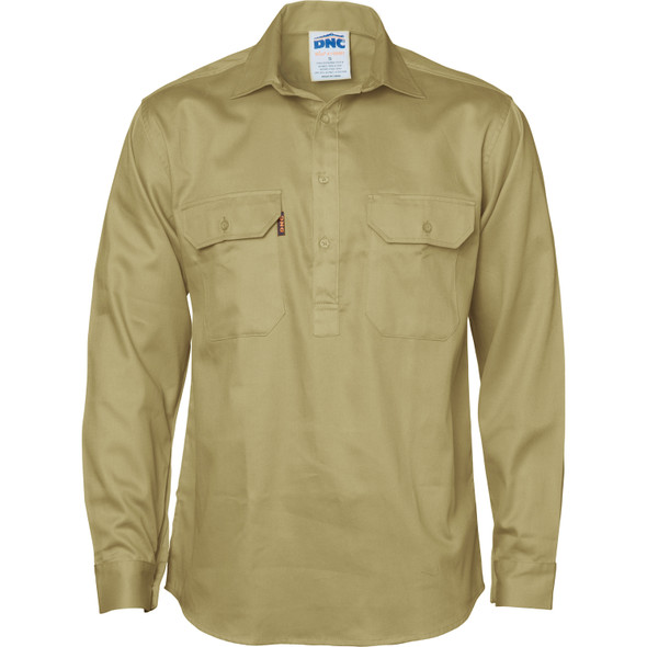 3204 - Close Front Cotton Drill Shirt - Long Sleeve