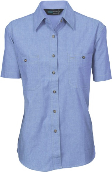 4105 - Ladies Cotton Chambray Shirt, S/S