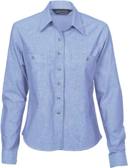 4106 - Ladies Cotton Chambray Shirt, L/S