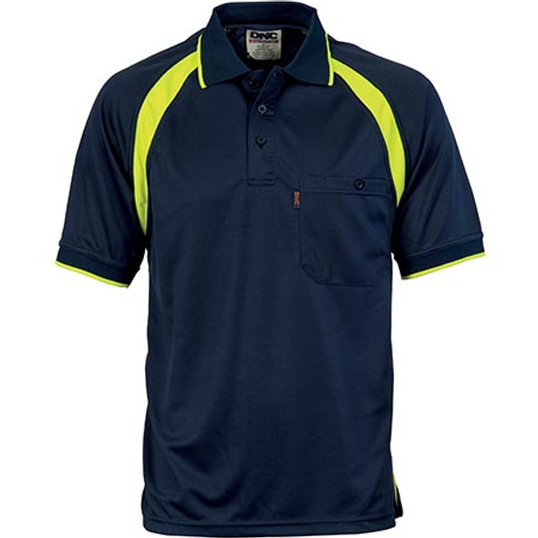 5216 - Coolbreathe Contrast S/S Polo - Navy/Yellow