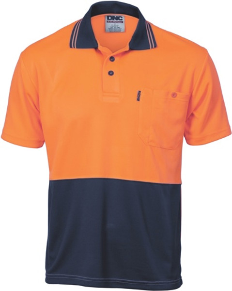 3811 - 175gsm HiVis Two Tone Cool Breathe Polo,  S/S