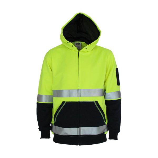 3788 - Hivis 2 tone full zip super fleecy hoodie with CSR R/tape