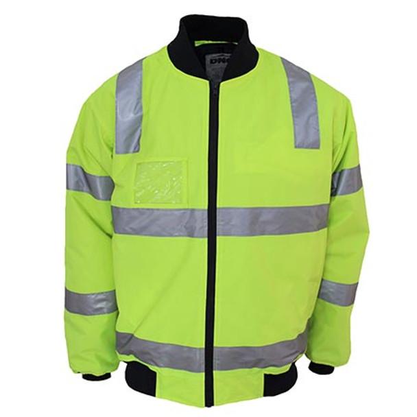 Yellow - 3769 HiVis Hoop pattern flying jacket Biomotion tape - DNC Workwear