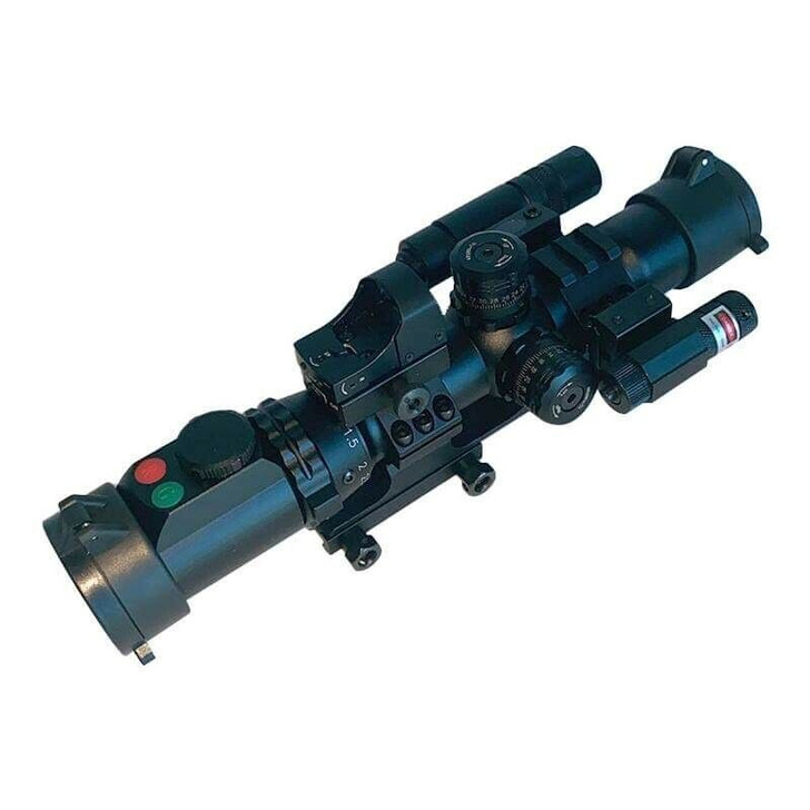 Rifle Scope Combo 1-4X28 Illuminated Reticle, Red laser, Flashlight, Red Dot, Mount