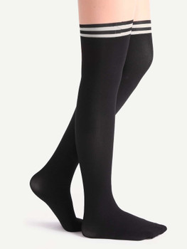 Black And Nude Patchwork Striped Pantyhose Stockings A3661