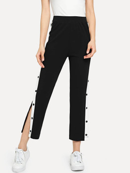 Contrast Snap Button Side Pants A14074