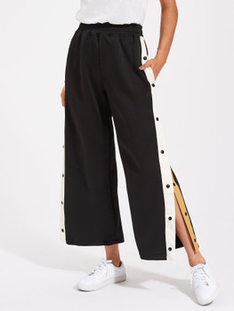 Contrast Snap Button Side Culotte Pants A15117