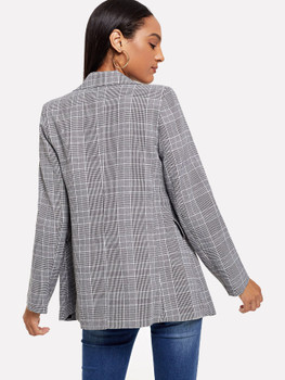 Double-breasted Plaid Blazer A20242