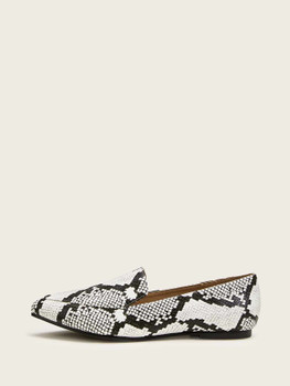 Point Toe Snakeskin Flat Loafers A977
