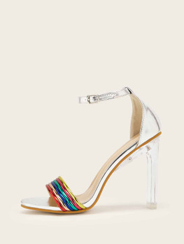 Colorful Open Toe Ankle Strap Heels A2757